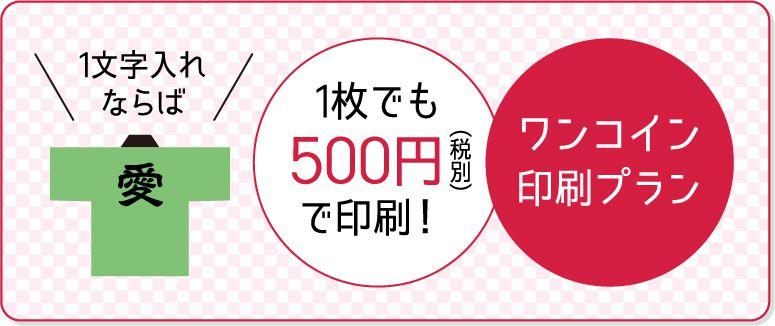 ワンコイン印刷プラン。1枚でも500円で印刷!